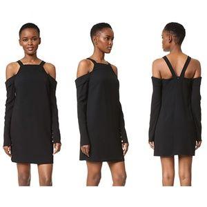 Tibi Cold Shoulder Dress Sz 6 Black Long Sleeves